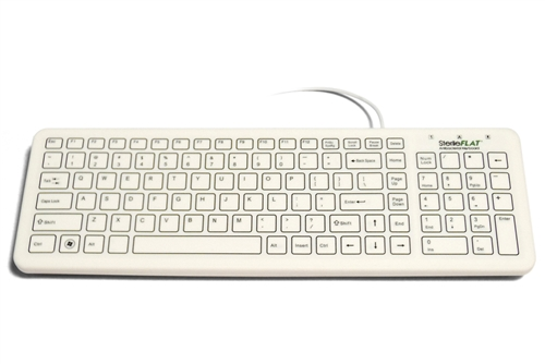 Used for Infection Control & Equipment Protection, the SterileFLAT Antibacterial Medical Keyboard | SF09-02-v4 can be cleaned by washing with soap and water, sanitized or disinfected.