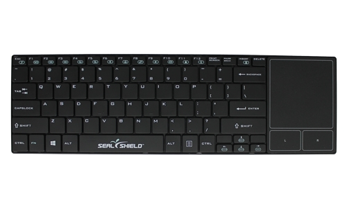 Used for Infection Control & Equipment Protection, the Clean-Wipe Medical RF Wireless Keyboard with Touchpad SSKSV099WP can be cleaned by washing with soap and water, sanitized or disinfected.