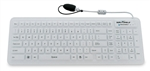 Used for Infection Control & Equipment Protection, the Seal-Glow Washable Backlit Silicone Keyboard SW106G2 can be cleaned by washing with soap and water, sanitized or disinfected.