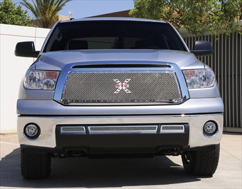 T-Rex Mesh Grille Toyota Tundra X-METAL Series - Studded Main Grille - Chrome Polished SS T-REX-6719590