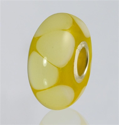 Yellow Dots Glass Cremation Bead for Pandora Bracelets