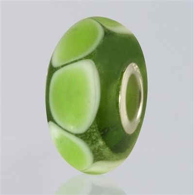 Green Dots Glass Cremation Bead for Pandora Bracelets