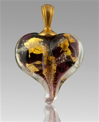 Plum/Gold Heart Glass Cremation Pendant