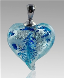 Pulsar/Silver Heart Glass Cremation Pendant