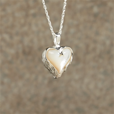 Mother of Pearl Heart Cremation Pendant