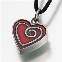 Red Enameled Pewter Heart