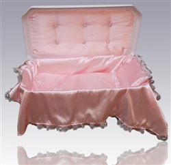 Deluxe Pet Casket in White/Pink
