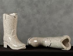 Cowboy Boot Granite Vase