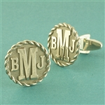 Round Monogram Cuff Links with Rope Border