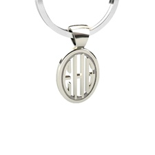 Pierced Oval Monogram Keychain in Block Style, Sterling Silver
