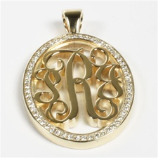 Diamond Monogram Pendant, Pierced in Script Style, 36mm