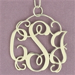 Flowing Script Monogram Pendant (or Brooch), 36mm