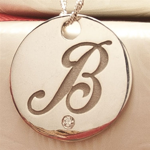 Round script initial pendant with diamond aloadofball Image collections