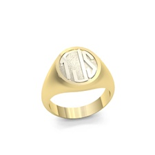 Women's Circle Monogram Ring, Two Tone in Block Style