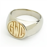 Men's Circle Monogram Ring, Two Tone in Block Style