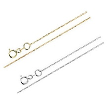 Cable Chain, 1mm in 14K Yellow or White Gold