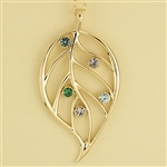 Family Leaf Birthstone Pendant