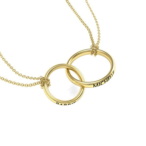 Double ring name pendant with double chain aloadofball Gallery