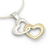 Interlocking Heart Name Pendant, Two Tone