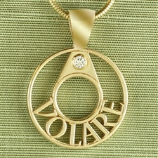 Gianni Wreath Name Pendant, Pierced One Tone 24mm