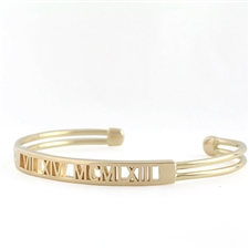 Roman Numeral Cuff Bracelet, Pierced One Tone with Rectangle Face