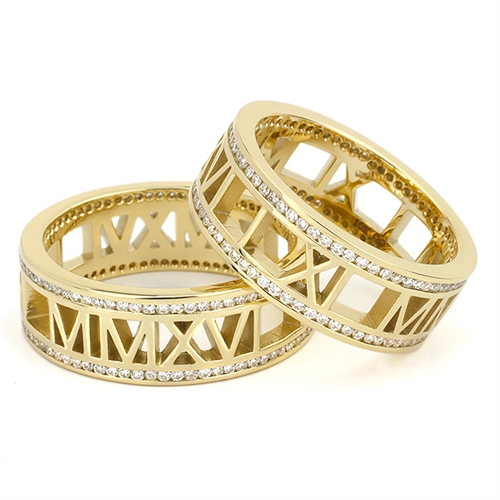 Roman Numeral Wedding Bands: Pierced Roman Numeral Ring, Rimmed With Diamonds