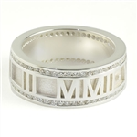 Roman Numeral Ring Rimmed with Diamonds, One Tone with Satin Band