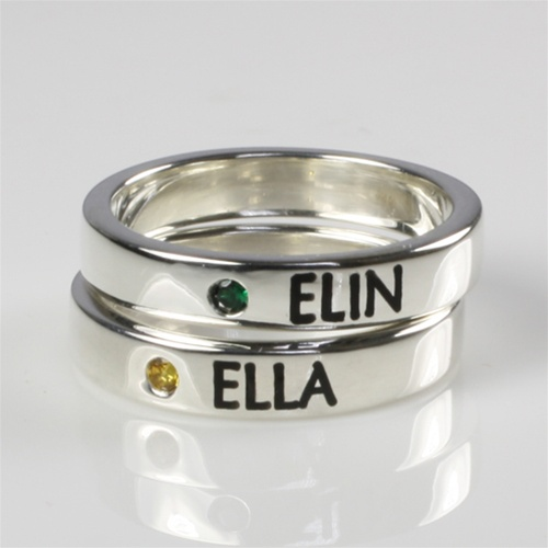 Mothers Stackable Name Ring With Birthstone-4559