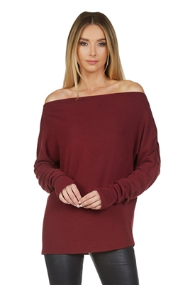 Michael Lauren Santos Drop Shoulder Boat Neck Sweater in Wine