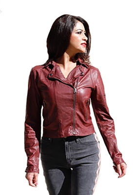 C`Est Fini Mila Moto Leather Jacket in Bordeaux