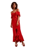 C/Meo Collective Entice Short Sleeve Gown in Red