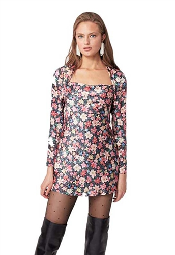 eo Collective Time Flew Mini Dress in Black Garden Floral