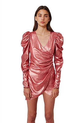 C/Meo Collective As It Goes Long Sleeve Mini Dress is Rosewood Sequin
