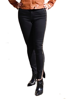 Funky Soul Talla Mid Rise Skinny Jean with Side Tape in Black
