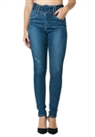 Funky Soul High Rise Buckle Skinny Jean in Medium Blue