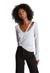 n:Philanthropy Vicki V Neck Long Sleeve Tee in Sleet