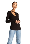 n:Philanthropy Fonda Long Sleeve Cutout Tee in Black Cat