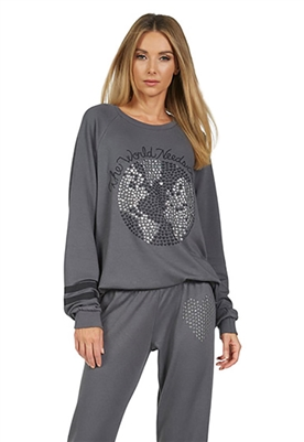 Lauren Moshi Noleta World Needs Love Vintage Pullover in Light Onyx