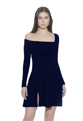 Susana Monaco Long Sleeve Slit Flare Dress Midnight