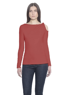 Susana Monaco Twisted Strap Long Sleeve Top in Red