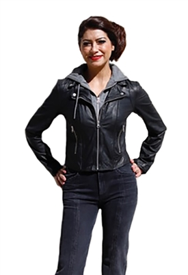 C`Est Fini Odette Removable Hoodie Leather Jacket in Black/Charcoal