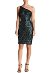Dress The Population Cher One Shoulder Sequin Dress in Navy