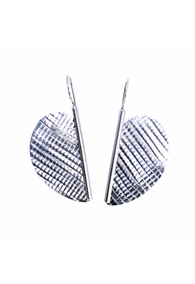 Sibilla G Stainless Steel Half Heart Diamond Cut Earrings