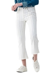 Citizens of Humanity Drew Fray High Rise Crop Flare in Light Cream Stripe