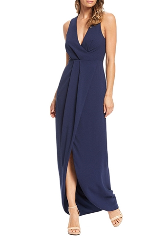 Dress The Population Ariel Faux Wrap Gown in Midnight Blue