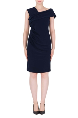 Joseph Ribkoff Asymmetric Neckline Dress in Midnight Blue