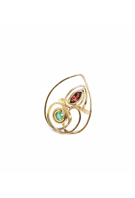 Sibilla G Mother Daughter Ring 18K Gold Plated