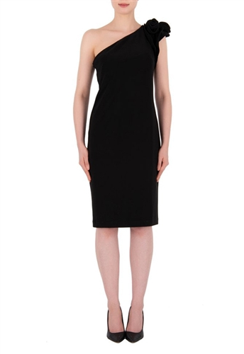 Joseph Ribkoff One Shoulder Dress in Black