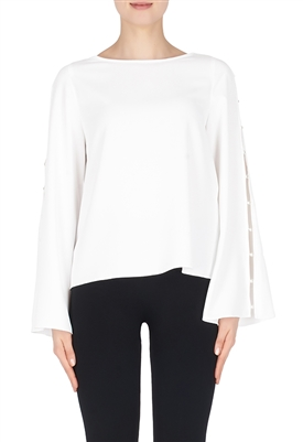Joseph Ribkoff Open Sleeve Blouse with Pearl Buttons in White
