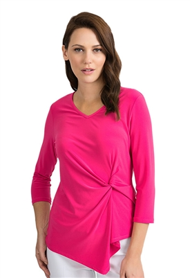 Joseph Ribkoff Twist Knot 3/4 Sleeve Top in Pink